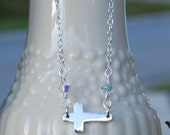 Sterling Silver And Swarovski Crystal Sideways Cross Necklace