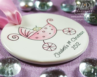 Babys First Christmas Ornament Personalized Baby Ornament My First Christmas Baby Carriage Christmas Gift Pink