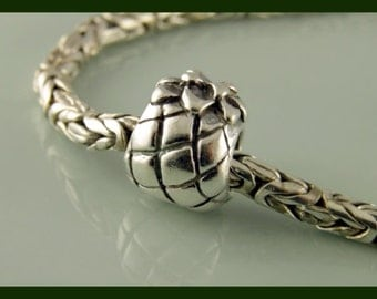 Bali Pineapple Sterling Silver - European Charm Bracelet Bead - large hole bead - big hole bead S287
