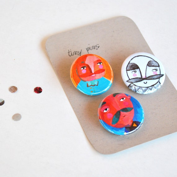 Mustache men pins illustrated button brooches