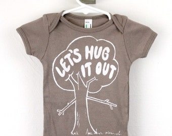 organic baby bodysuit tree hugger print Let's Hug It Out screen printed