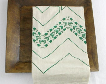 chevron tea towel screen printed with green ink geometric print