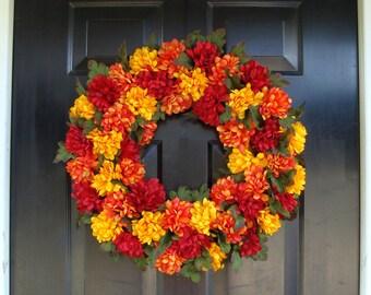 Colorful Mums Fall Wreath, Thanksgiving Wreath, Harvest Fall Wreath Fall Colors, Fall Wreaths, Fall Decor, XL Door Wreath, Grapevine Wreath