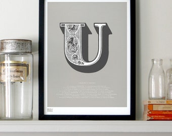 Illustrated Letter U in Putty/Charcoal - decorative screen print