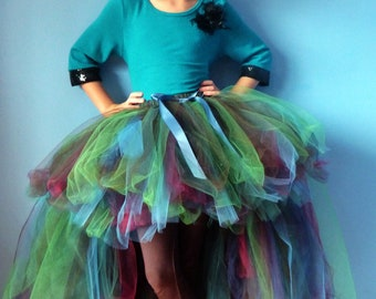 Peacock Princess Tulle Skirt - dual length Hi Lo SEWN couture tutu skirt - Made to Order - Flower girl, weddings, photo prop, costume