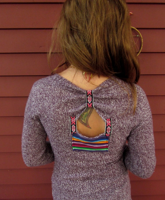 Heather Purple Native Woven Patch Knit Soft Pullover Layering Sweater With Back Cut Out Size Small by MountainGirlClothing