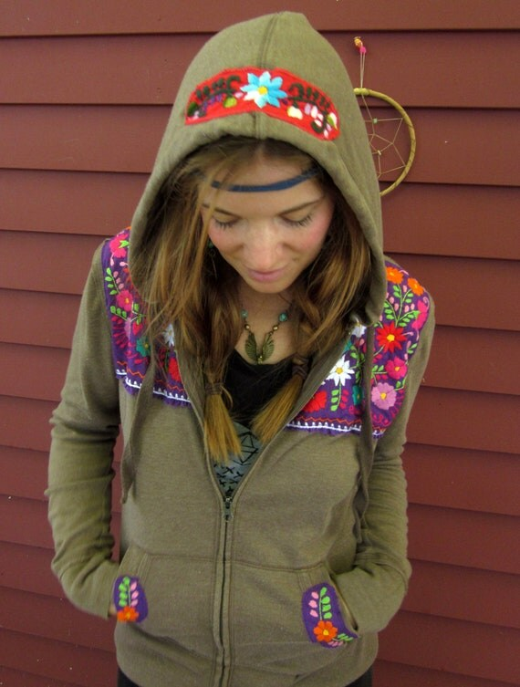Mexican Embroidered Hippie Bohemian Upcycled Brown and Purple Hoodie Hooded Sweatshirt Size Medium by MoutainGirlClothing