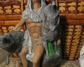 Hand Painted Ceramic Native American Man with Wolves Statue