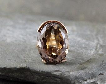 Smokey Quartz Ring - 14K Yellow Gold - Vintage Cocktail Ring