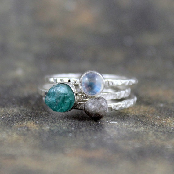 Stacking Rings - Rough Apatite Rough Diamond Moonstone  - Sterling Silver Trio - Handmade and Designed by A Second Time