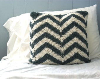 Knit Chevron Stripe Throw Pillow in Blue Gray and Winter White, Knitted Chevron Pillow