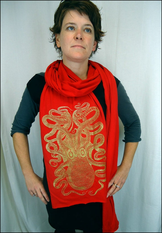 Gold on Red Octopus Scarf