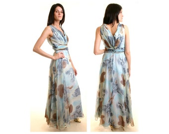 Gorgeous Movie Star Chiffon Gown sz Small Medium S M Vintage Floral Print Garden Party Maxi Dress