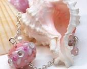 Multi Pink Lampwork Bead Long Necklace