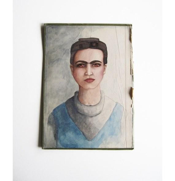 Frida Kahlo Original Painted Portrait on inside of a Vintage Book Cover