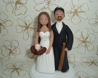 Customized Baseball Theme Wedding Cake Topper