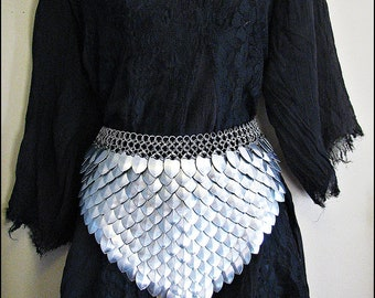 Stainless Steel  Scalemail Dragonscale Front panel skirt chainmail Renaissance Cosplay LARP