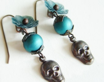Blue Floral Skull Earrings Black Oxidized Brass Skull Earrings Teal Jewelry Creepy Victorian Goth Skull Jewelry