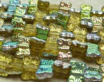 12x8mm Transparent Light Amber Vitrail Czech Glass Butterfly Beads - Qty 15 (BS279)