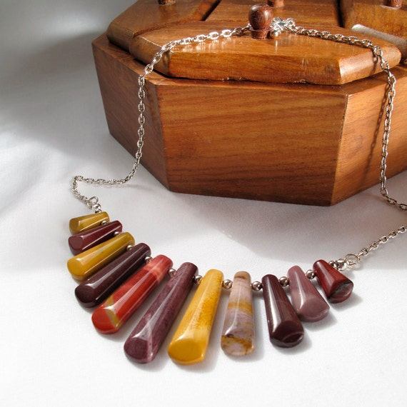 Mookite Cleopatra Necklace, Australian Jasper bohemian jewelry in rustic fall colours - READY TO SHIP, by A Crooked Sixpence