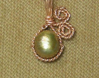 Golden Green FRESHWATER PEARL Gold Wire Wrap Necklace Pendant SALE
