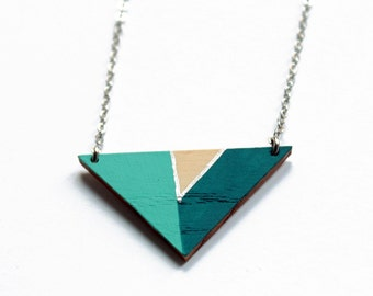 Geometric wooden triangle necklace - water blue, petrol blue, silver and natural wood - minimalist, modern jewelry - color blocking