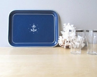 vintage metal tin tray nautical decor anchor stars navy blue and silver decor