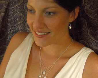 Pearl Drop Necklace - Pearl Quartet on Silver Chain