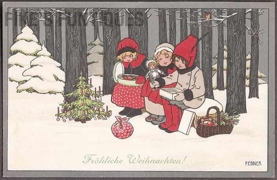 Frohliche Weihnachten Vintage Christmas Postcard - Pauli Ebner, Children in Snow