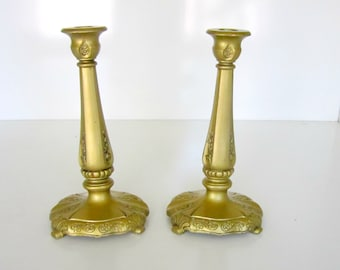 Vintage Pair Candlesticks Art Deco Gold Heavy Weight Candle sticks