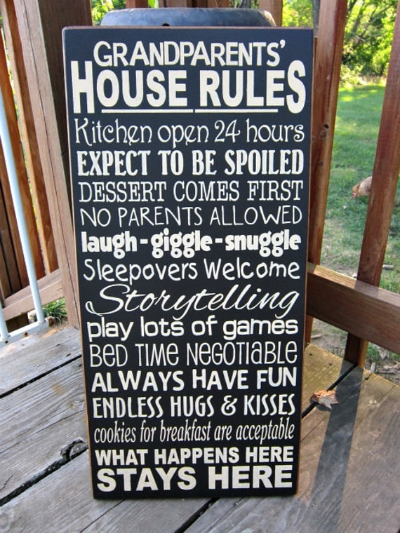 Large Wood Sign Grandparents House Rules