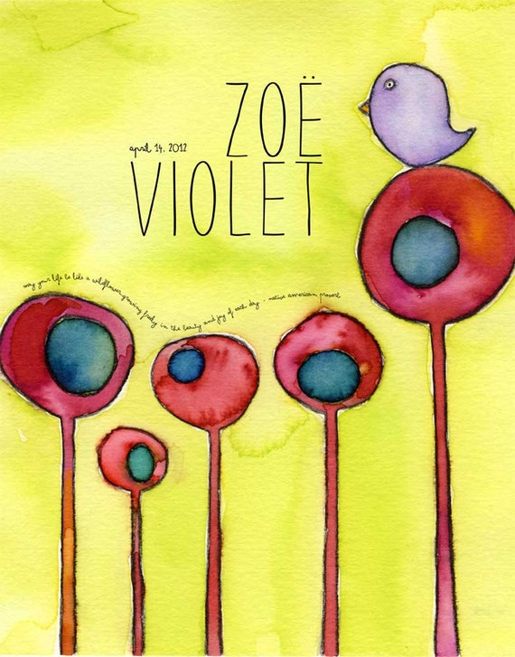 Little Bird - watercolor personalized name print