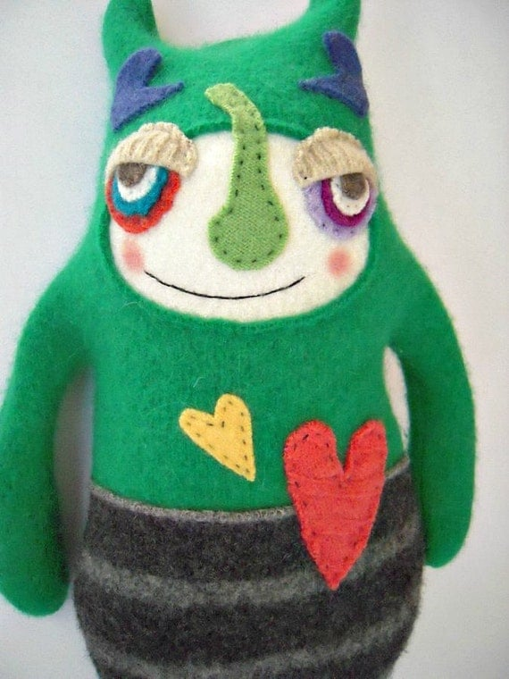Stuffed Animal Monster Upcycled Wool Sweater Felted
