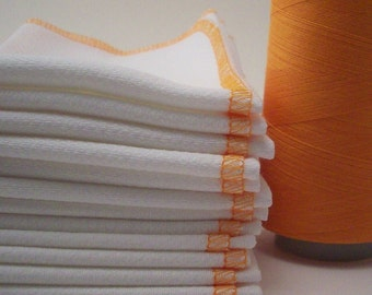 Reusable Unpaper Towels - Papaya Melon Orange Bordered  Paper Towel Alternative