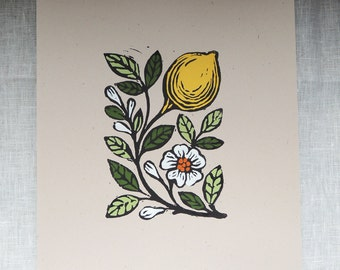 Lemon blossom original gardening art hand block print kitchen botanical home decor