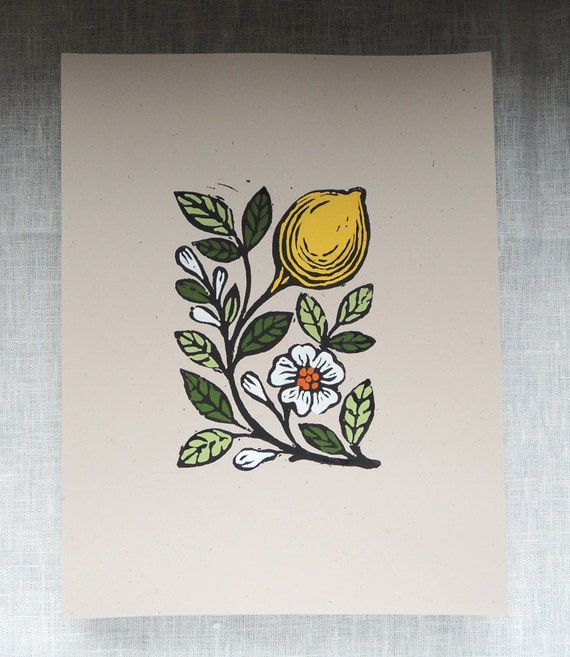 Lemon blossom original gardening art hand block print kitchen botanical home decor