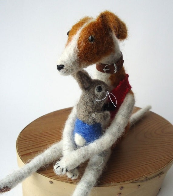 Needle felted Animal Felted   Greyhound with Little Bunny  Miss Bumbles
