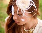 """Bridal  fascinator Ivory Fascinator Hat Wedding Hat  """"Sparkling aster"""""""