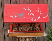 Handmade Bird Feeder, Covered Bridge Style Open Air Persnickety Bird Feeder, Songbird Silhouette in Red - Durable Reclaimed Wood & Branches