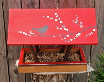 Handmade Bird Feeder, Covered Bridge Style Open Air Persnickety Bird Feeder, Songbird Silhouette in Red, Durable Reclaimed Wood and Branches