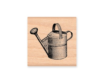 COUNTRY WATERING CAN  - two sizes,large and small-wood mounted rubber stamp ( 21-09)(40-05)