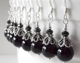 Bridesmaid Jewelry, Black Pearl Beaded Dangle Earrings in Antiqued Silver, Vintage Style Wedding