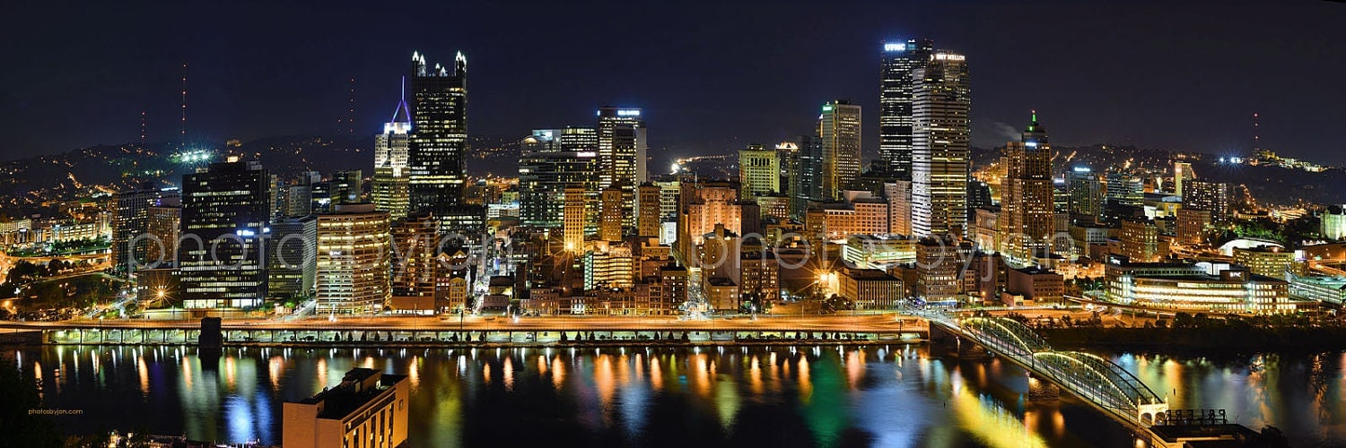 Pittsburgh Skyline At Night Borderless Color Or Bw Panoramic