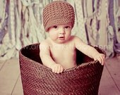 Baby Newsboy Hat, Warm Brown Newborn Crochet Hat, Infant Boy Nutmeg Beanie, Soft-Brimmed Visor, MADE TO ORDER