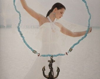 USS Maine- antique gold Anchor on turquoise beaded Necklace on Sale