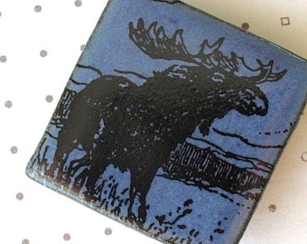 Moose Brooch. Cornflower Blue Glaze on Black Porcelain Square. Denim. Indigo. Navy. Woodland Wildlife. Up North Scene. Nature Lover. Rustic