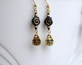 Gold Cat Face Eternity Spiral Earrings