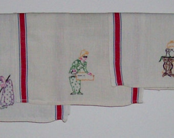 3 Hand Embroidered Kitchen Towels With Hardworking Housewives