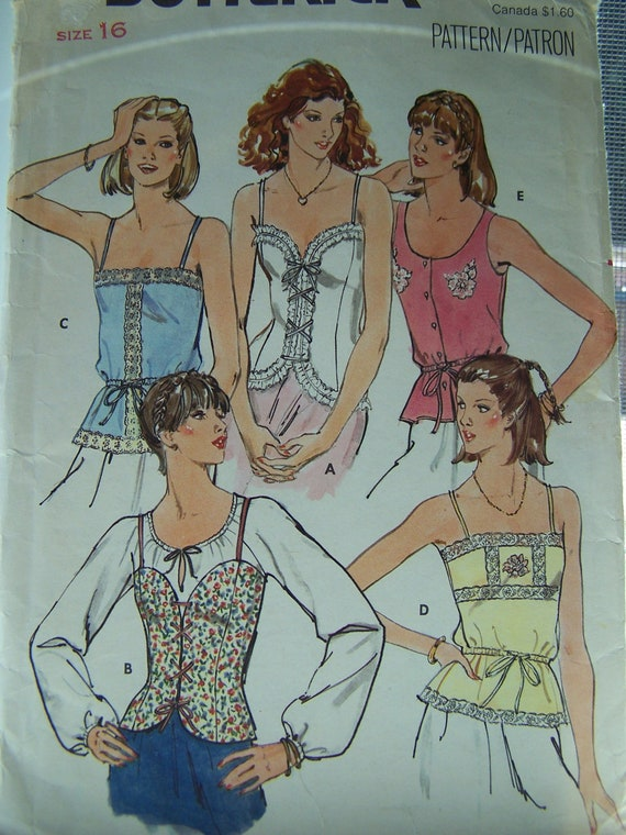SALE Vintage 80's Butterick 6143 Sewing Pattern - Misses' Lace Up Camisole Top, Lacy Bodice Top