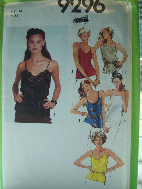 CLEARANCE 70's Simplicity 9296 Sewing Pattern - Misses' Plus Size Pattern, Camisoles Lined and Unlined